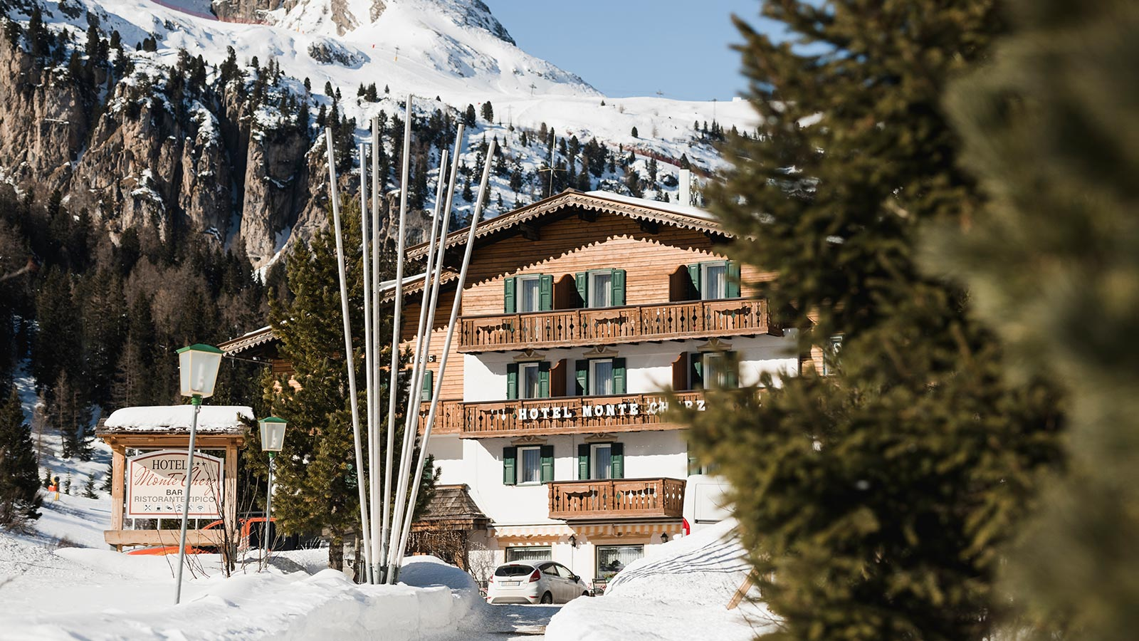 The facade of Hotel Monte Cherz during the winter season