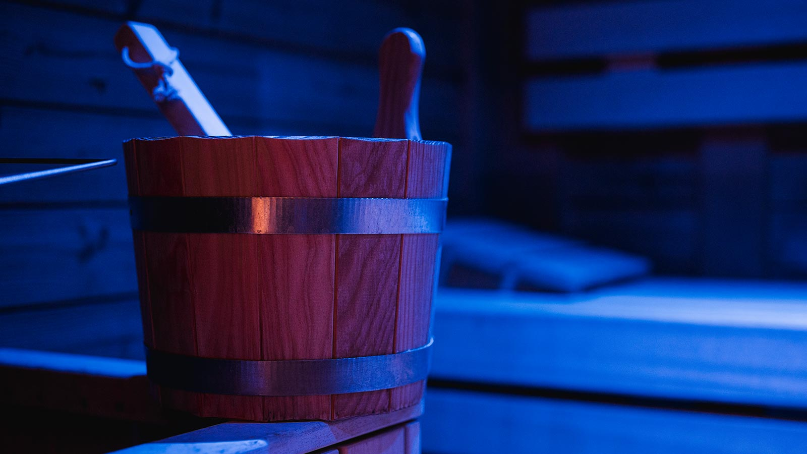 Detail of a wooden bucket at Hotel Monte Cherz in Passo Campolongo